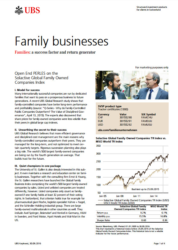 Open End PERLES on the Solactive Global Family Owned Companies Index Factsheet